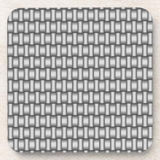Silver Woven Metallic Square Coasters
