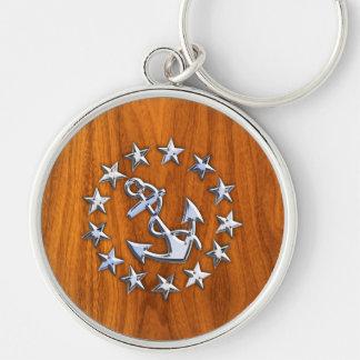 Silver Yacht Flag on Nautical Teak Wood Print Keychain