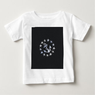 Silver Yacht Naval Flag on Charcoal Grille Baby T-Shirt