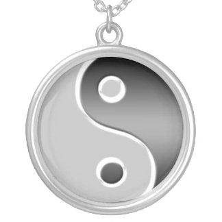 Silver Yin Yang Asian Necklace