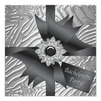Silver Zebra Bachelorette Party 5.25x5.25 Square Paper Invitation Card