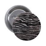 Silver zebra stripe pattern (faux glitter bling) pins