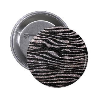 Silver zebra stripe pattern faux glitter bling pins