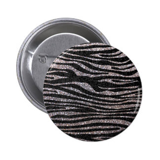 Silver zebra stripe pattern (faux glitter bling) button