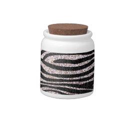 Silver zebra stripe pattern (faux glitter bling) candy dishes