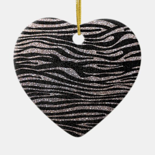 Silver zebra stripe pattern (faux glitter bling) ceramic ornament