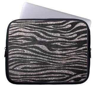 Silver zebra stripe pattern (faux glitter bling) laptop computer sleeve