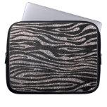 Silver zebra stripe pattern (faux glitter bling) computer sleeve