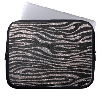 Silver zebra stripe pattern (faux glitter bling) laptop sleeve