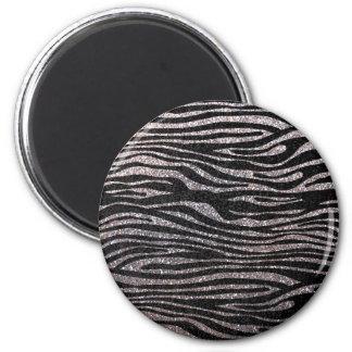 Silver zebra stripe pattern (faux glitter bling) fridge magnet