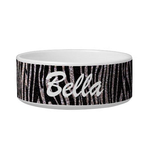 Silver zebra stripe pattern (faux glitter bling) cat food bowl