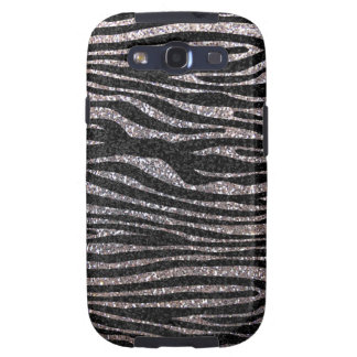 Silver zebra stripe pattern (faux glitter bling) samsung galaxy SIII cover