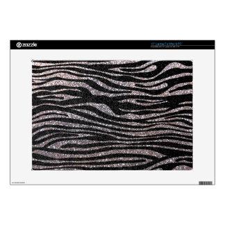 """Silver zebra stripe pattern faux glitter bling skins for 15"""" laptops"""