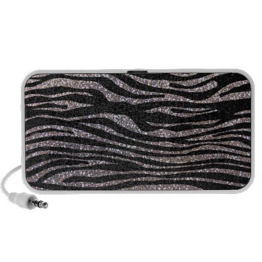 Silver zebra stripe pattern (faux glitter bling) portable speakers