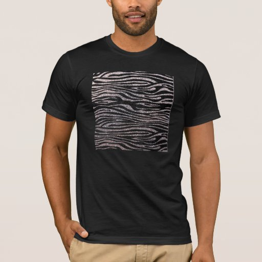 Silver zebra stripe pattern (faux glitter bling) T-Shirt