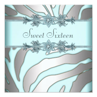 Silver Zebra Teal Blue Sweet 16 Birthday Party Card