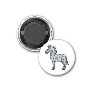 Silver Zebra with Black Stripes Magnet