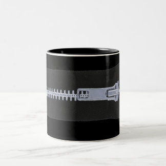 Silver Zipper Black Mug