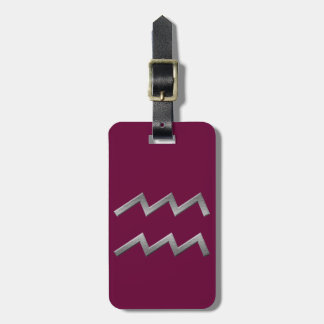 silver zodiacal sign luggage tag