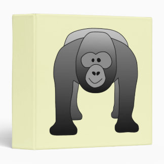 Silverback Gorilla Cartoon 3 Ring Binder