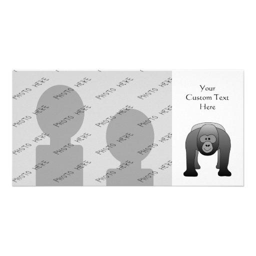 Silverback Gorilla Cartoon Custom Photo Card