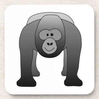 Silverback Gorilla Cartoon Drink Coaster