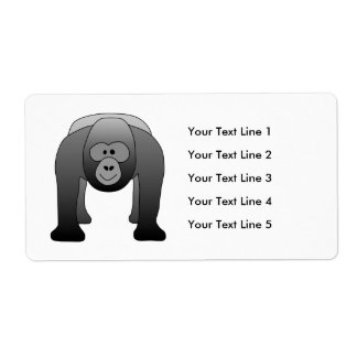 Silverback Gorilla Cartoon Label