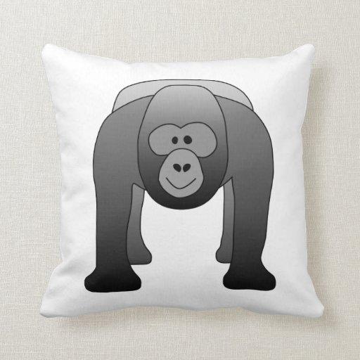 Silverback Gorilla Cartoon Throw Pillow