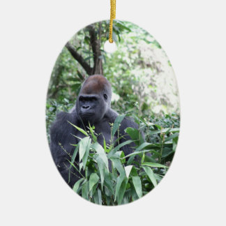 silverback gorilla Double-Sided oval ceramic christmas ornament