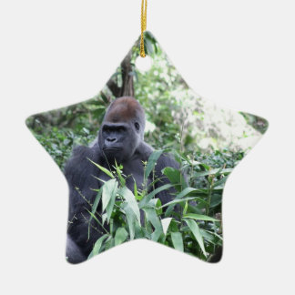 silverback gorilla Double-Sided star ceramic christmas ornament