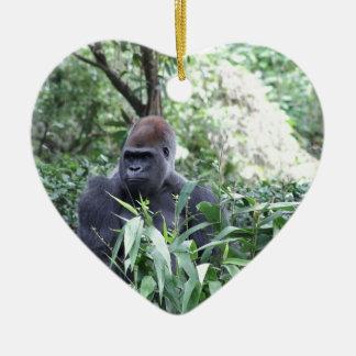 silverback gorilla Double-Sided heart ceramic christmas ornament