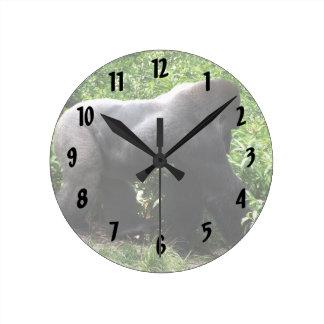 Silverback Gorilla walking sideway Round Clock