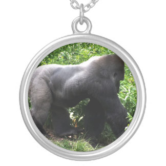 Silverback Gorilla walking sideway Silver Plated Necklace