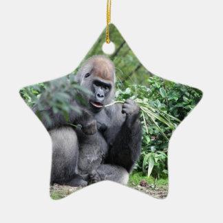 silverback gorillas Double-Sided star ceramic christmas ornament