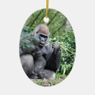 silverback gorillas Double-Sided oval ceramic christmas ornament