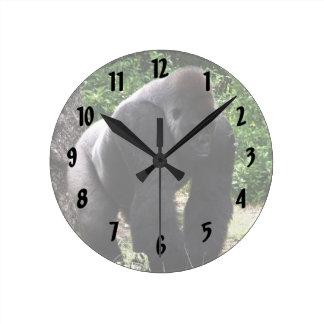 Silverback Male Gorilla walking head down.jpg Round Clock