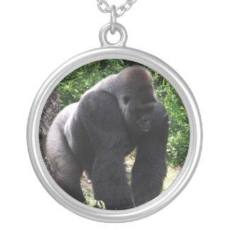 Silverback Male Gorilla walking head down.jpg Round Pendant Necklace