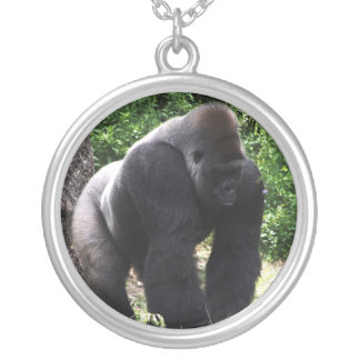 Silverback Male Gorilla walking head down.jpg Silver Plated Necklace