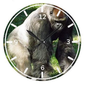 Silverback Male Lowland Gorilla Standing Up Clocks