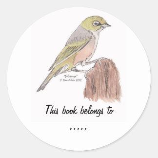 Silvereye Bird Book Plate Label Round Sticker