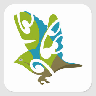 Silvereye bird square stickers