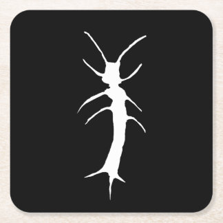 Silverfish Wilhelm, Stamped, White Square Paper Coaster