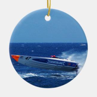 Silverline sponsored powerboat. ceramic ornament
