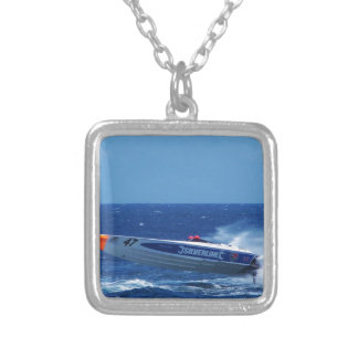 Silverline sponsored powerboat. silver plated necklace
