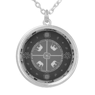 SilverPlated round necklace - elephants