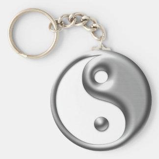 Silverplated Tone Yin Yang Keychain