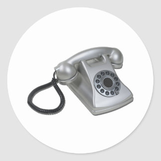 SilverRetroDeskPhone052711 Classic Round Sticker