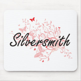 Silversmith Artistic Job Design with Butterflies Mouse Pad