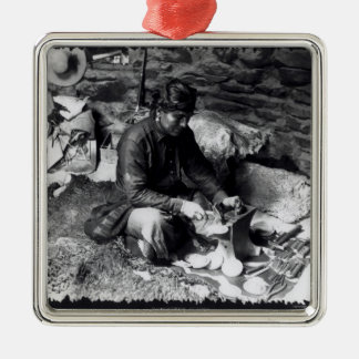 Silversmith at work, c.1914 square metal christmas ornament