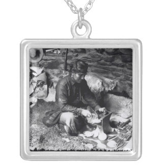 Silversmith at work, c.1914 silver plated necklace